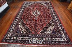Vintage Persian Hamadan Rug, 7'x10', Red/Ivory, All wool pile