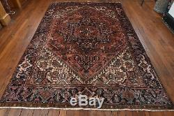 Vintage Persian Heriz Design Rug, 7'x10', Coral/Blue, All wool pile