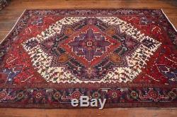 Vintage Persian Heriz Design Rug, 7'x10', Ivory/Black, All wool pile