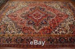 Vintage Persian Heriz Design Rug, 8'x11'6'', Red/Black, All wool pile