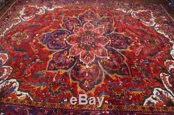 Vintage Persian Heriz Goravan Rug, 10'x13', Red/Blue, All wool pile