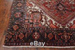 Vintage Persian Heriz Rug, 7'x10', Red/Black, All wool pile