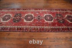 Vintage Persian Karajeh Design Runner Rug, 4'x15', Red/Black, All wool pile
