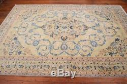 Vintage Persian Kashan Rug, 7'x10', Light Green/Light Green, All wool pile