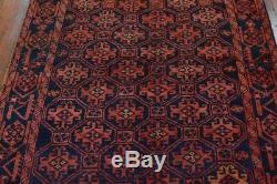 Vintage Persian Luri Design Rug, 5'x6', Blue, All wool pile