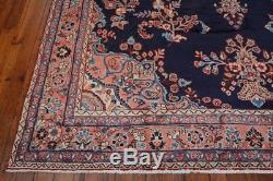 Vintage Persian Malayer Rug, 8'x10', Blue/Pink, All wool pile