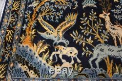 Vintage Persian Pictorial Rug, 3'x3'5'', Blue/Blue, All wool pile