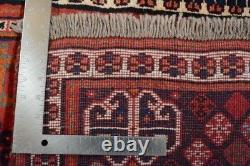 Vintage Persian Qashqai Design Rug, 3'x5', Red/Ivory, All wool pile
