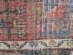 Vintage Persian Rug 5'x10' Hand-knotted Hamedan Navahand Geometric Pattern pink