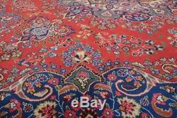 Vintage Persian Sabzevar Design Rug, 9'x12', Red/Blue, All wool pile