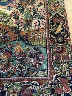 Vintage Persian Scenic Birds Trees Rug 3'2 x 2'1