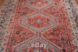 Vintage Persian Shiraz Rug, 6'x8', Rose/Brown, All wool pile