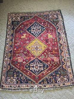 Vintage Persian Shiraz Tribal Rug Hand Knotted