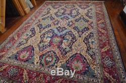 Vintage Persian Tabriz Rug, 10'x13', Blue/Red, All wool pile