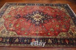 Vintage Persian Tabriz Rug, 7'x10', Rose/Blue, All wool pile