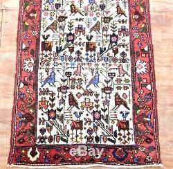 Vintage Persian Wool Woven Pictorial Runner Rug