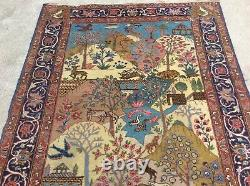 Vintage Pictoral Tree Of Life Orietal Rug With Animals Birds Handknotted