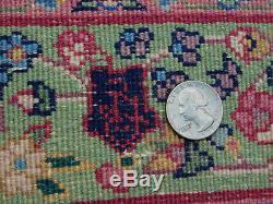 Vintage Pistachio Green Rose Kerman Oriental Rug carpet Persian FINE WEAVE 2x4