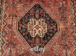Vintage Qashqai Rug, Hand Made Red Persian Carpet (8ft X 4ft) Cleaned