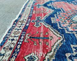 Vintage Red & Blue Sirjan Persian Hand-Knotted Wool Rug with Abrash 190 x 160cm