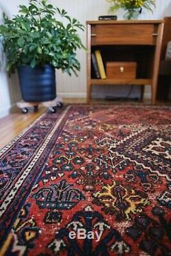 Vintage Rug Antique Distressed Rug Hand Knotted Persian Wool Area Rug Red 4' x 6