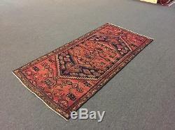 Vintage Semi Antique Hand Knotted Persian Hamadan-Zanjan Geometric Rug 3'2x6'7