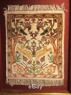 Vintage Silk Gorgeous TREE OF LIFE Rug Animals Birds HUNTING Framed Colorful Old