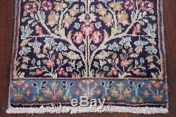 Vintage TREE OF LIFE Kirman Persian Oriental Area Kitchen Rug Navy Blue 2x3 WOOL