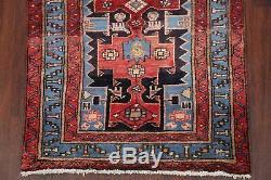Vintage TRIBAL Hamedan Persian Rug Geometric LIGHT BLUE Oriental WOOL Runner 3x6