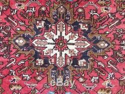 Vintage Traditional Persian Heriz Rug Wool Oriental Hand Made Rug 185x150cm
