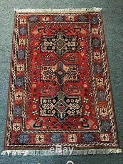 Vintage Tribal Design Handmade Area Rug Geometric RED 4x6 Wool Antique Carpet