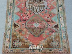 Vintage Tribal Geometric Oriental Rug Persian Carpet FADED Hamadan 3x5 THICK