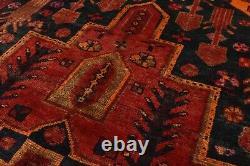 Vintage Tribal Hamadan Rug, 5'x9', Black/Blue, Hand-Knotted Wool Pile