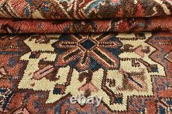Vintage Tribal Heriz Rug, 7'x9', Red/Blue, Hand-Knotted Wool Pile