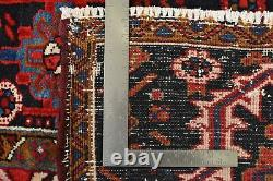 Vintage Tribal Heriz Rug, 8'x10', Red/Blue, Hand-Knotted Wool Pile