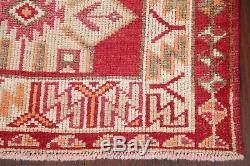 Vintage Turkish Oushak Wool Runner Rug Geometric Handmade Oriental Carpet 3'x13