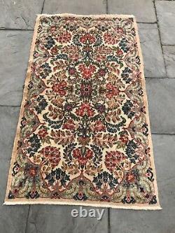 Vintage hand knotted wool rug, 3x5, Kirman