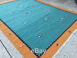 Vintage kilim gabbeh Indo-Persian kelim boho old tribal rug green 360x270cm