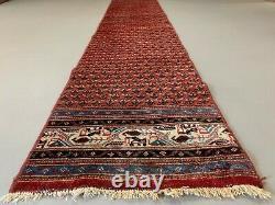 Vintage long narrow Tribal runner 362x62 cm veg dye wool rug tribal handmade