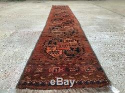 Vintage long, narrow Turkmen Ersari runner 425x70 cm veg dye wool rug tribal