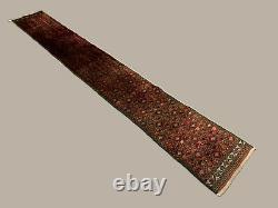 Vintage narrow Tribal runner 385x52 cm wool rug handmade, Red, Black
