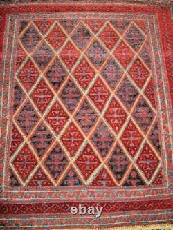 Vintage rug carpet oriental wool hand knotted -bokhara 127 x 120cm