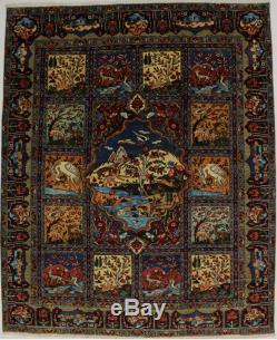 Wonderful Animal Hunting Design Unique Vintage Persian Rug Oriental Carpet 10X13