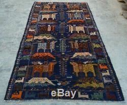 Y871 Best Vintage Afghan Horse Pictorial Rug, Nomadic Tribal Rug Kilim 4'6 x 8'8